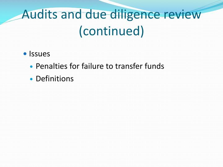 Audits and due diligence