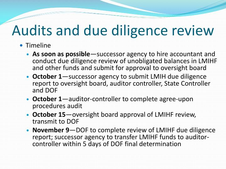 Audits and due diligence review