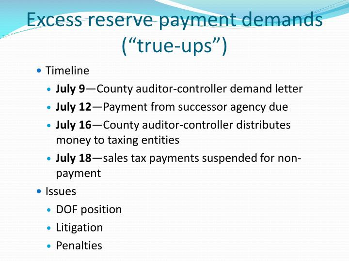 Excess reserve payment