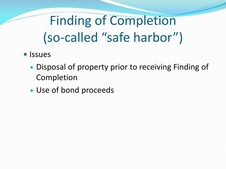 Finding of Completion