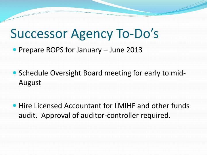Successor Agency To-Do's