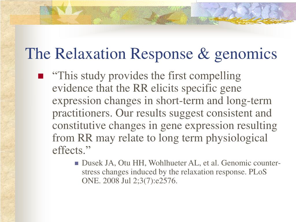 The Relaxation Response & genomics