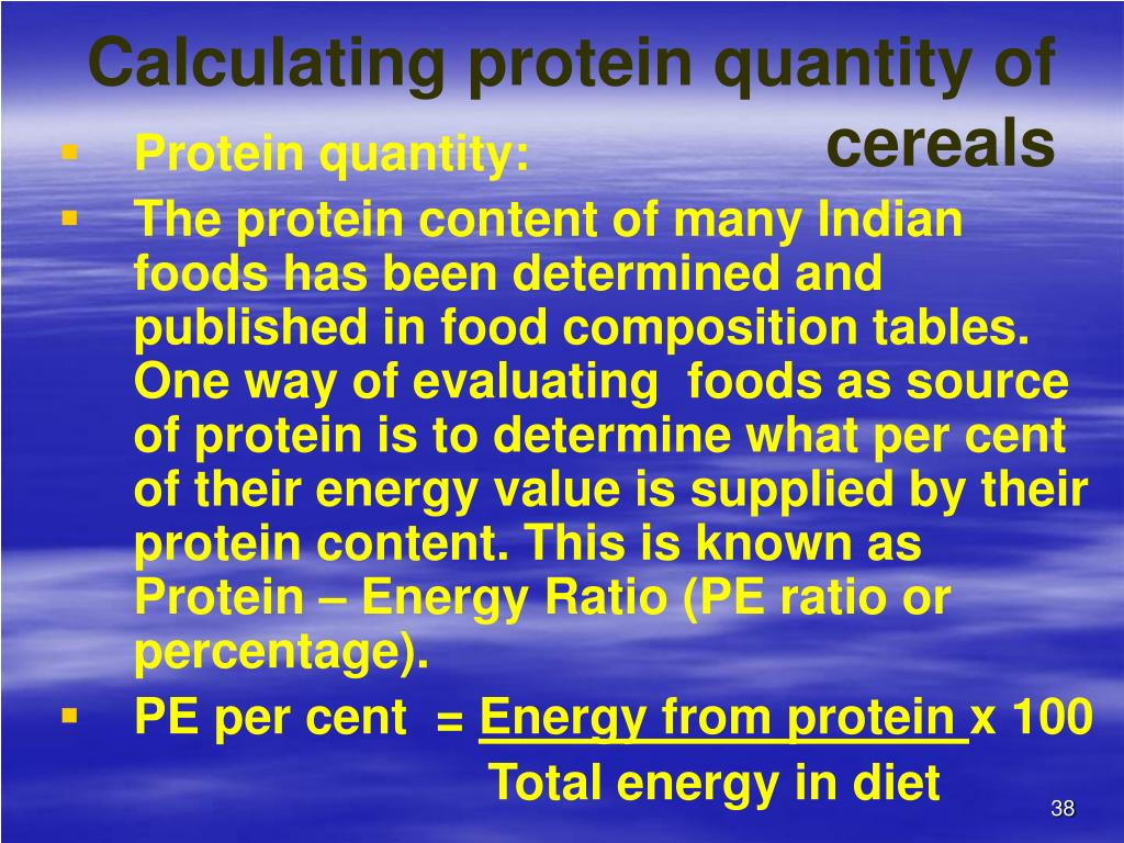 Calculating protein quantity of          cereals