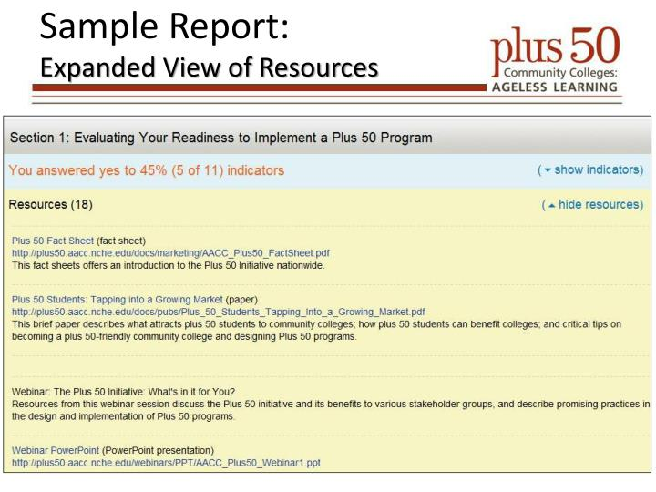 Sample Report: