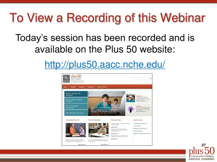 To View a Recording of this Webinar