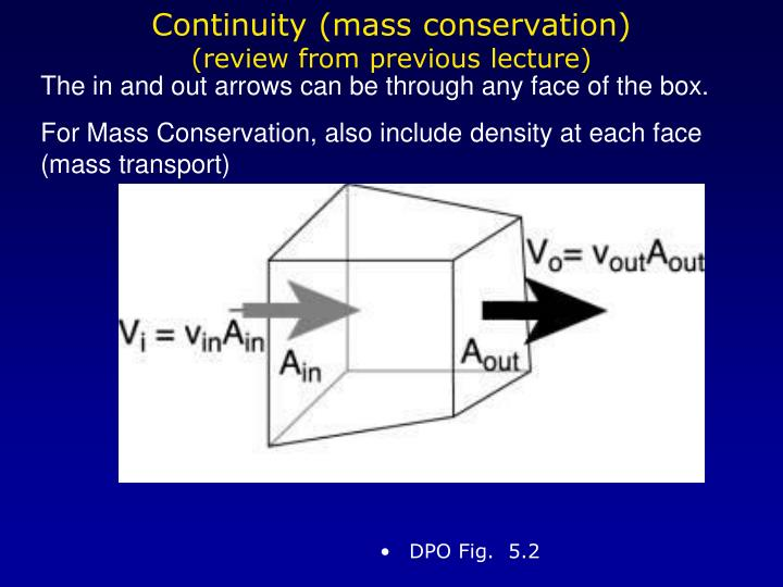 Continuity (mass conservation)