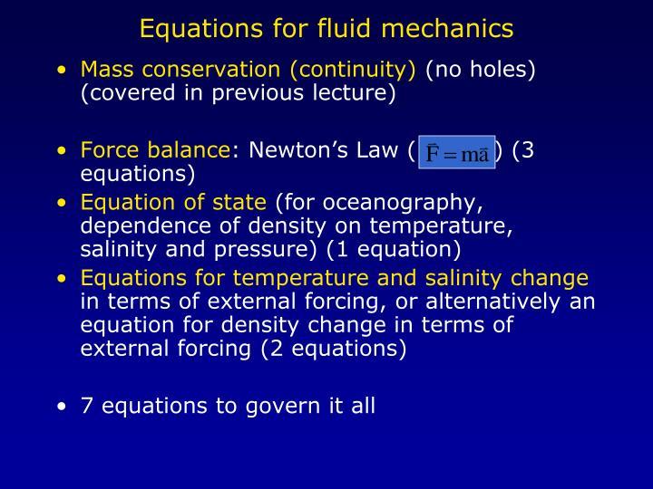 Equations for fluid mechanics