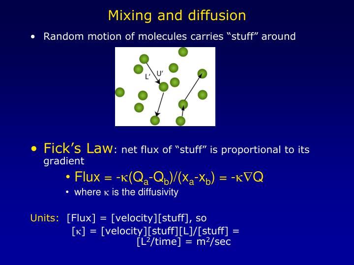 Mixing and diffusion