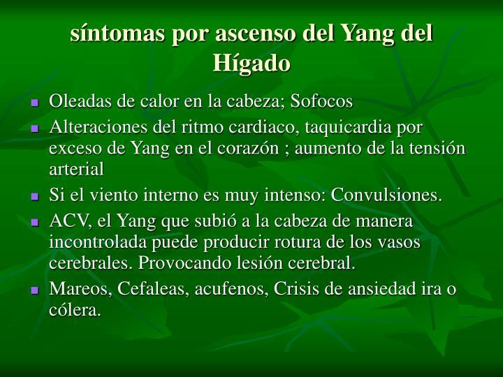 síntomas por ascenso del Yang del Hígado