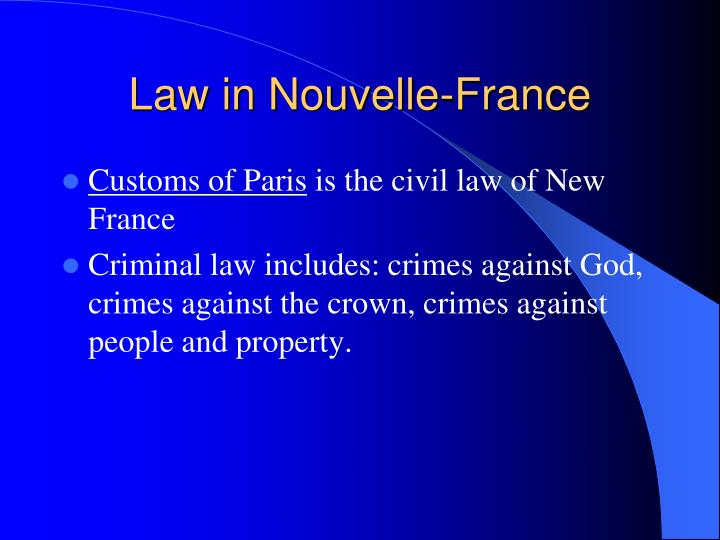 Law in Nouvelle-France