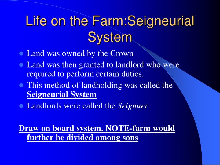 Life on the Farm:Seigneurial System