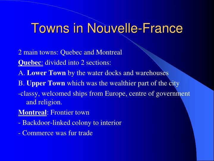 Towns in Nouvelle-France