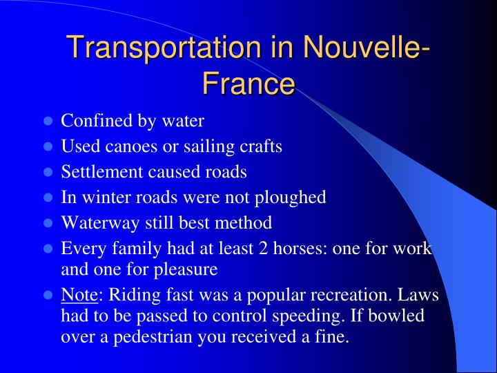 Transportation in Nouvelle-France