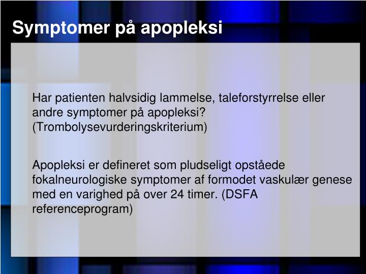 Symptomer på apopleksi