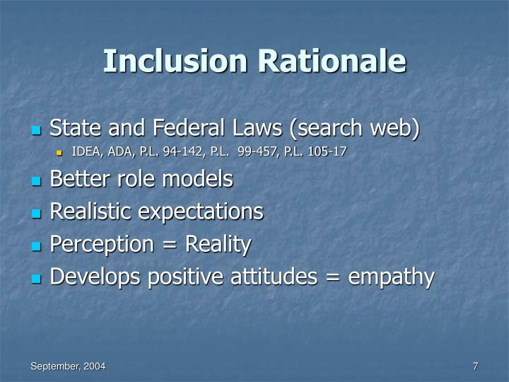 Inclusion Rationale