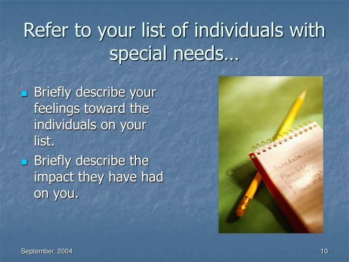 Refer to your list of individuals with special needs…