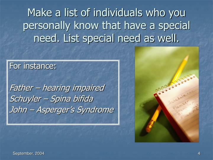 Make a list of individuals who you personally know that have a special need. List special need as well.