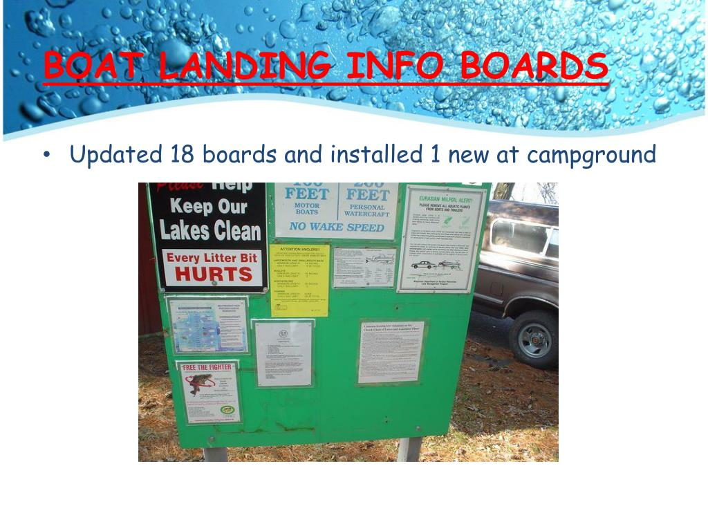 BOAT LANDING INFO BOARDS