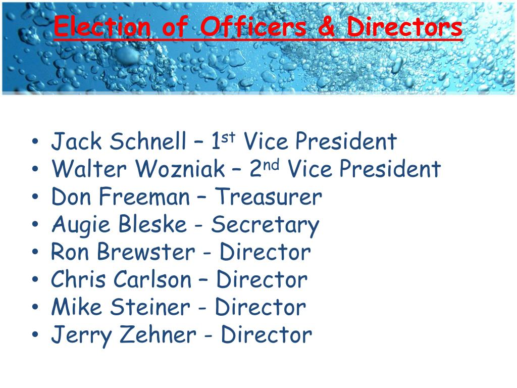 Election of Officers & Directors