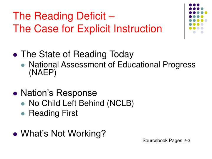 The Reading Deficit –
