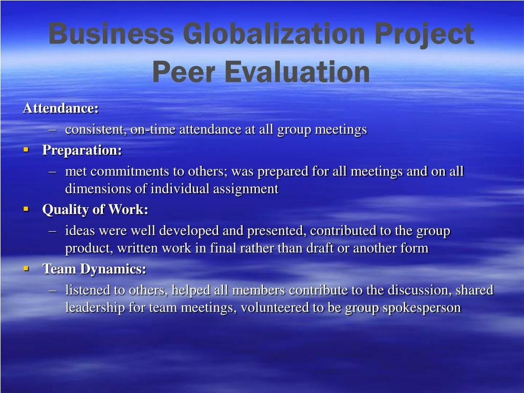 Business Globalization Project Peer Evaluation