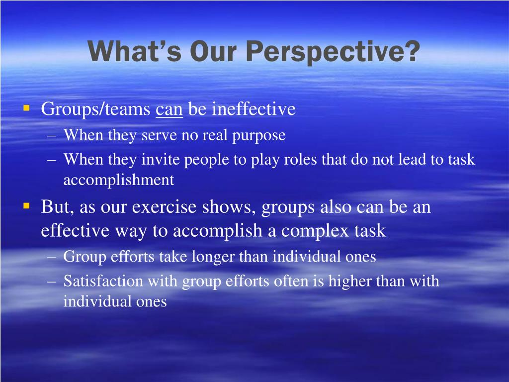 What's Our Perspective?