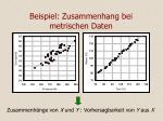 beispiel zusammenhang bei metrischen daten