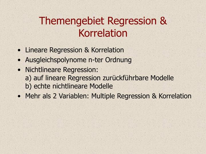 Themengebiet Regression & Korrelation