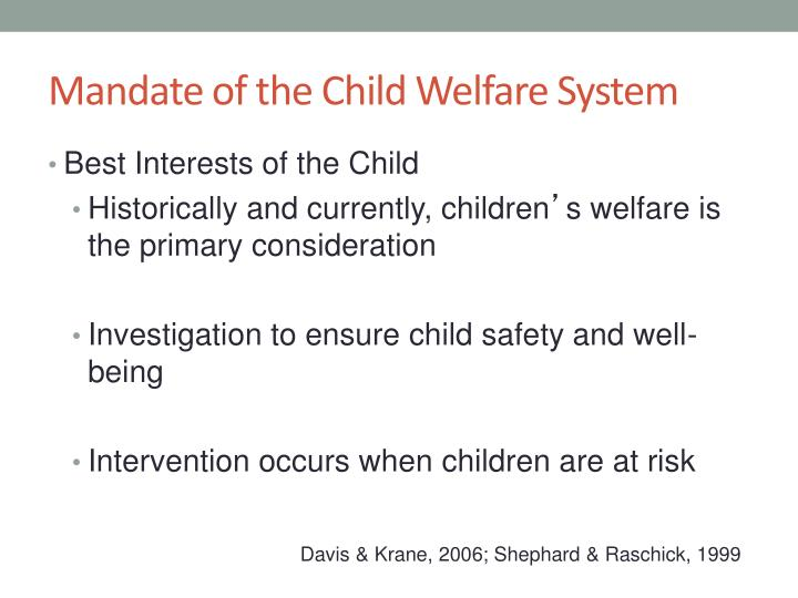 Mandate of the child welfare system