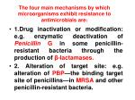 the four main mechanisms by which microorganisms exhibit resistance to antimicrobials are