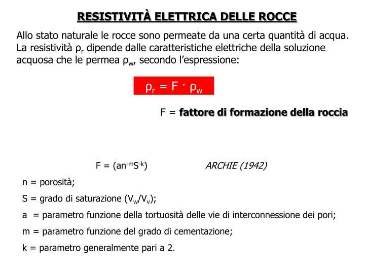 RESISTIVITÀ ELETTRICA DELLE ROCCE
