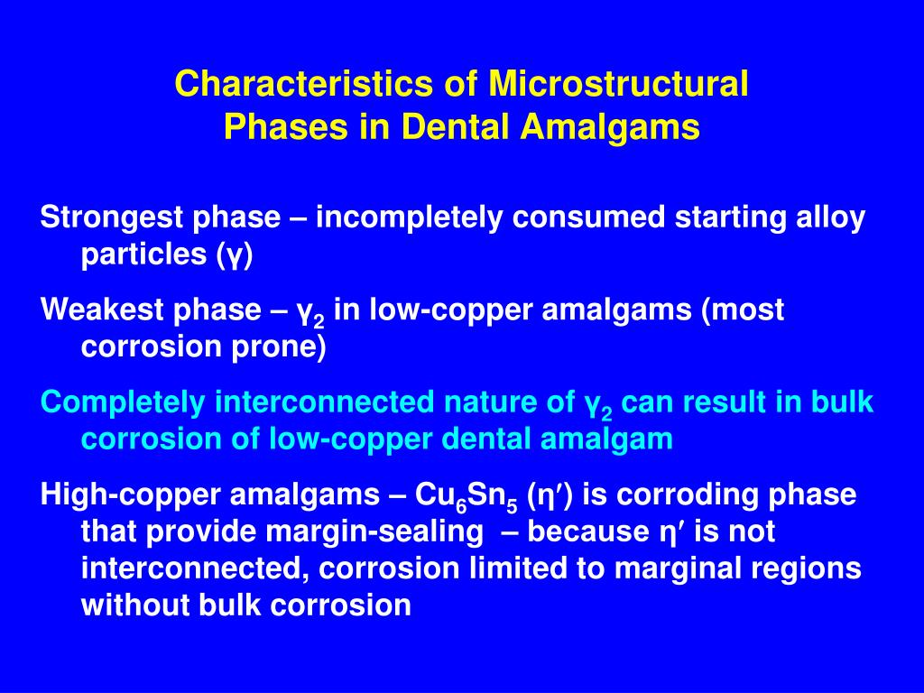 Characteristics of Microstructural Phases in Dental Amalgams