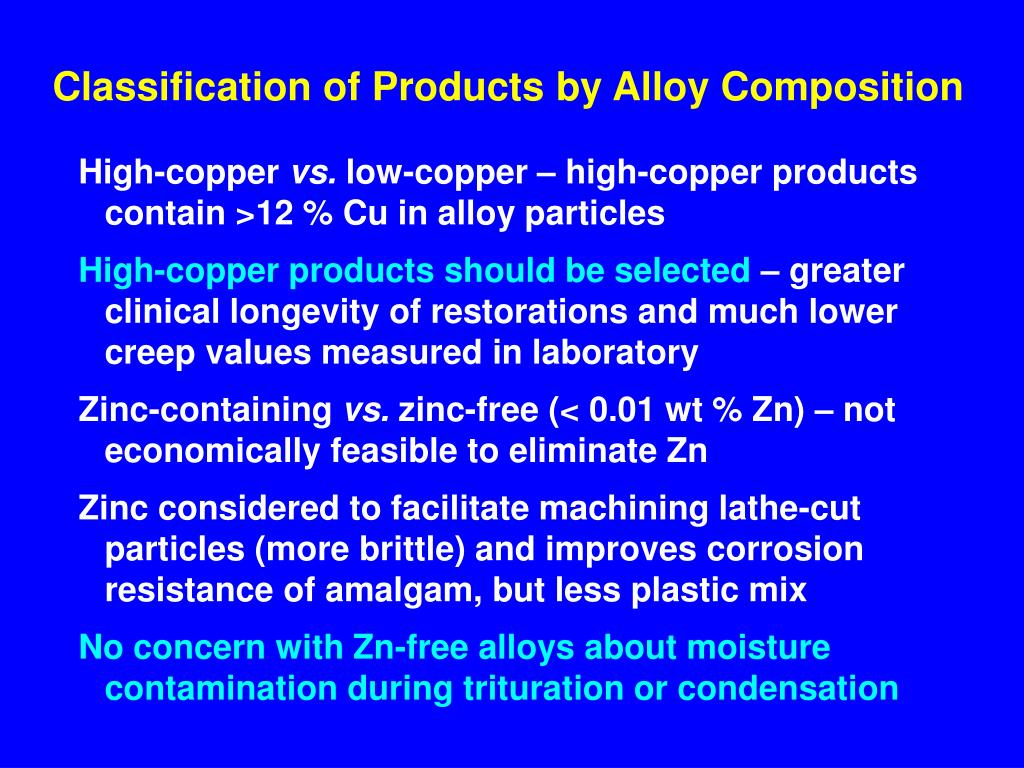 Classification of Products by Alloy Composition