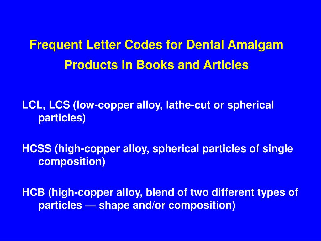 Frequent Letter Codes for Dental Amalgam Products in Books and Articles