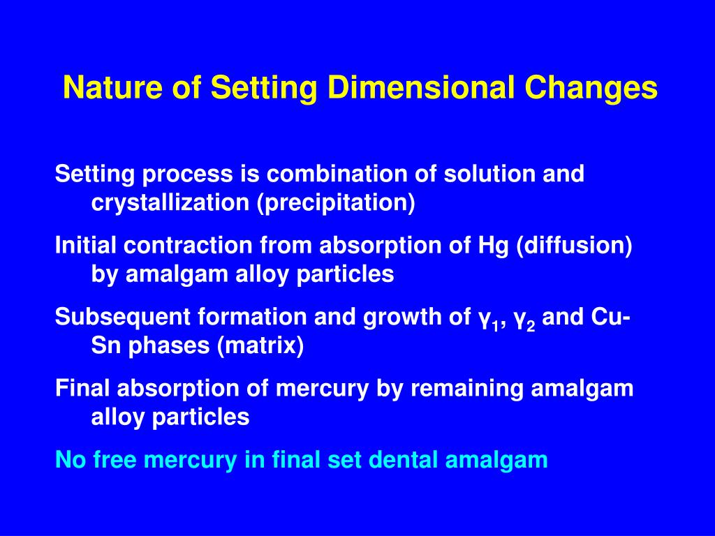Nature of Setting Dimensional Changes