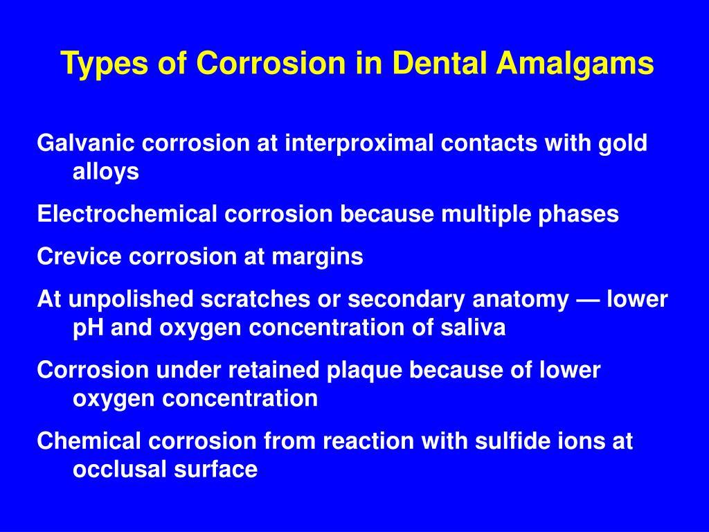 Types of Corrosion in Dental Amalgams