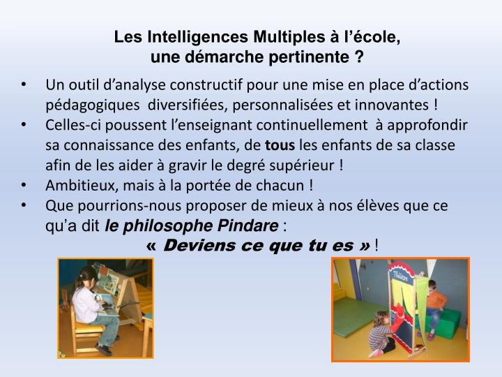Les Intelligences Multiples à l'école,