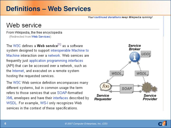 Definitions – Web Services