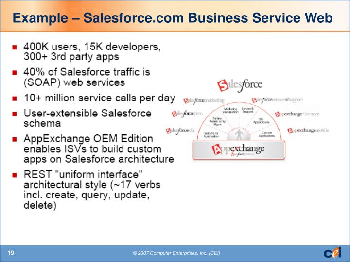 Example – Salesforce.com Business Service Web
