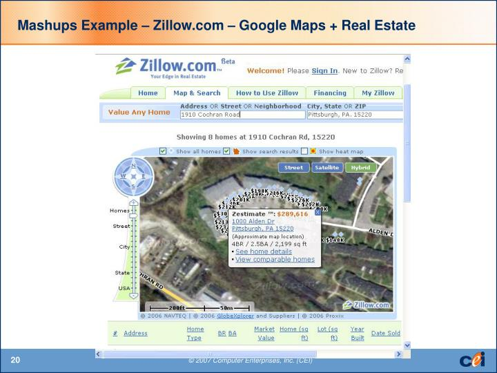 Mashups Example – Zillow.com – Google Maps + Real Estate