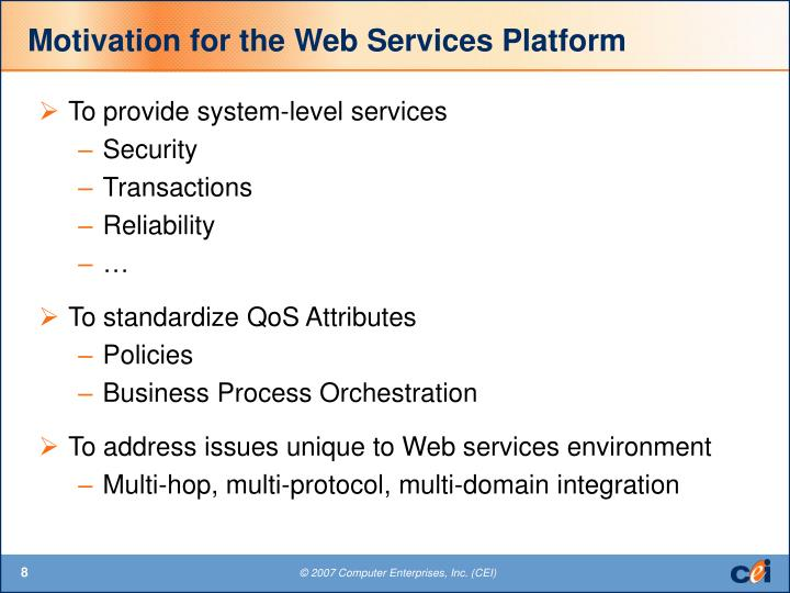 Motivation for the Web Services Platform