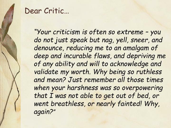 Dear Critic…