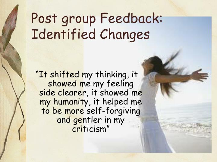 Post group Feedback: Identified Changes