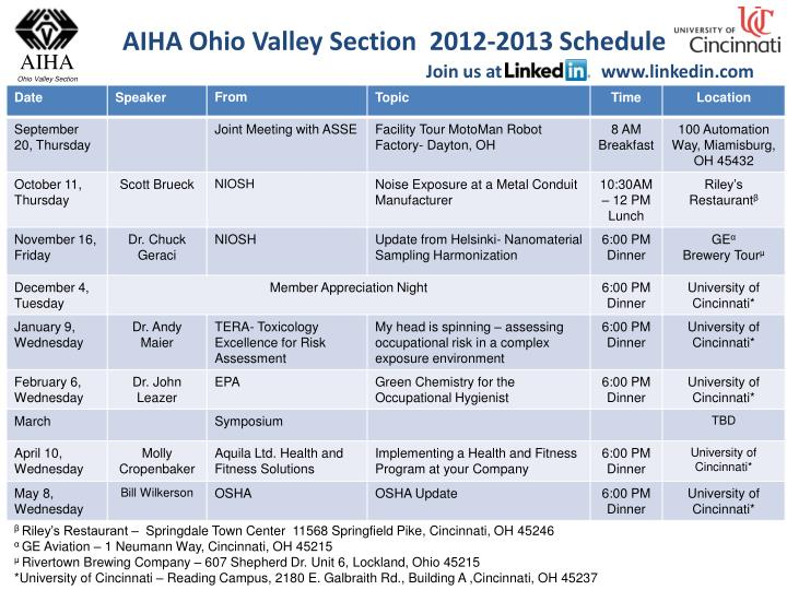 AIHA Ohio Valley Section  2012-2013 Schedule