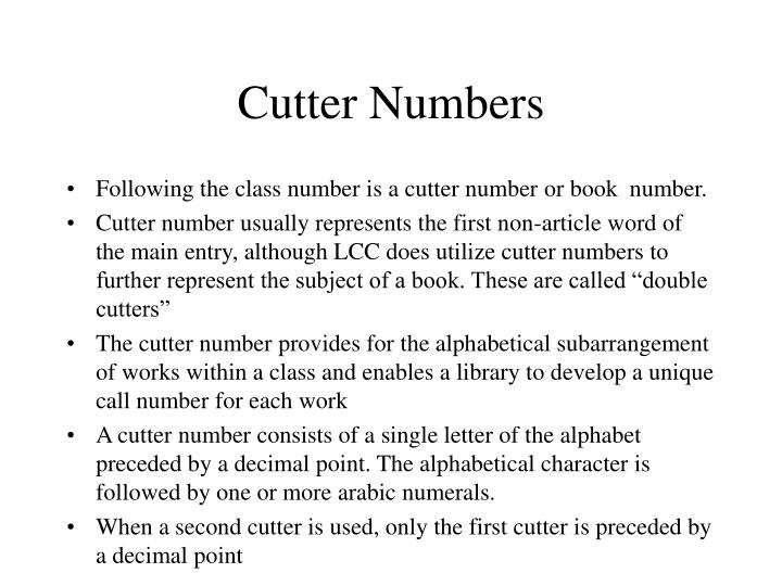 Cutter Numbers