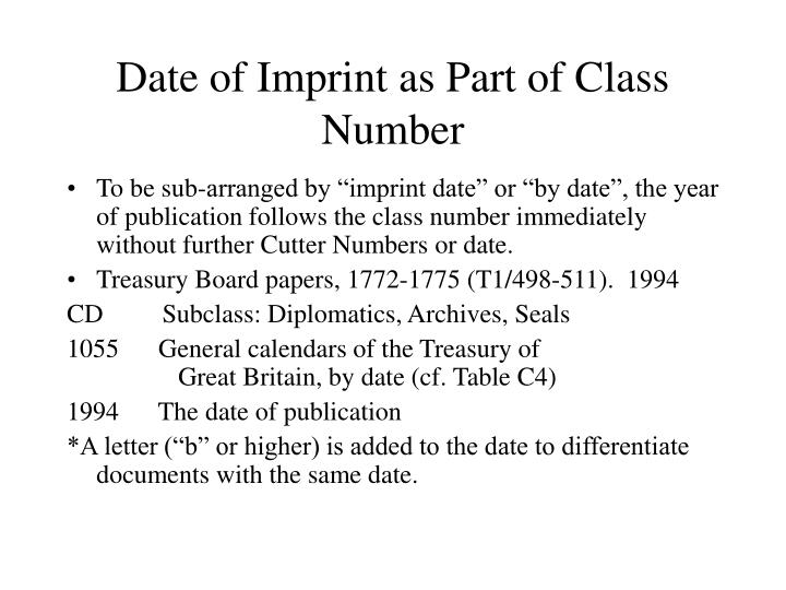 Date of Imprint as Part of Class Number
