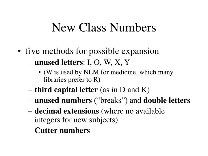 New Class Numbers