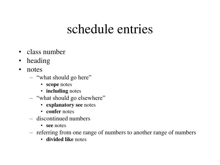 schedule entries