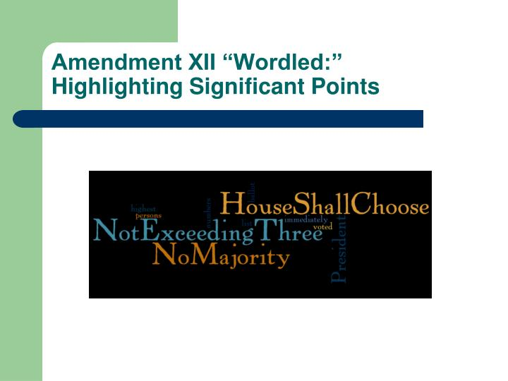 "Amendment XII ""Wordled:"""