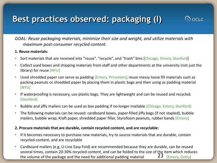 Best practices observed: packaging (I)